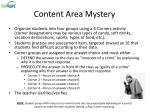 content area mystery