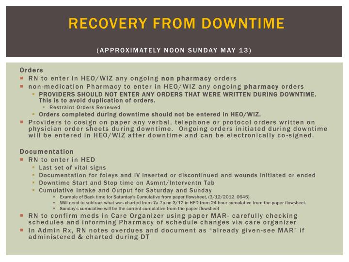 Recovery from Downtime