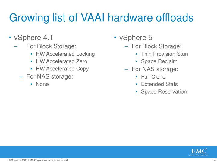 Growing list of VAAI hardware offloads