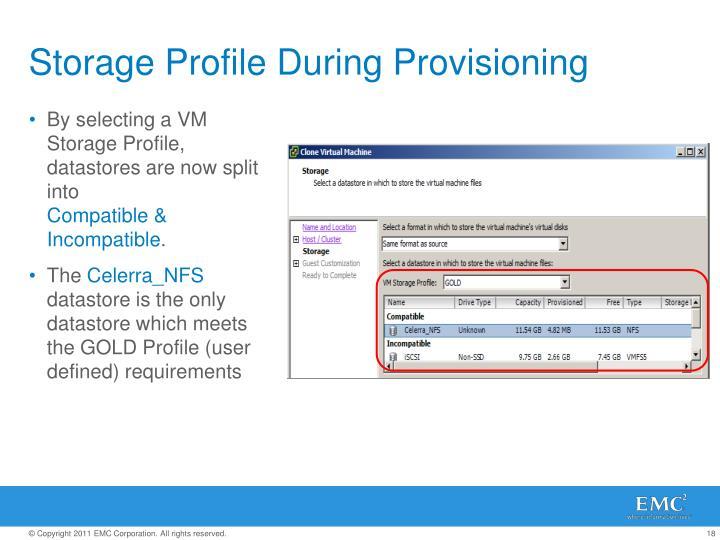 Storage Profile During Provisioning