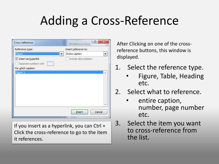 Adding a Cross-Reference