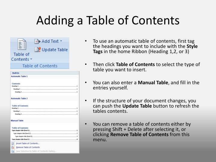 Adding a Table of Contents