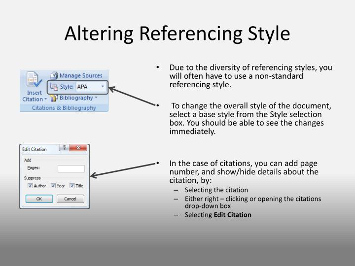 Altering Referencing Style