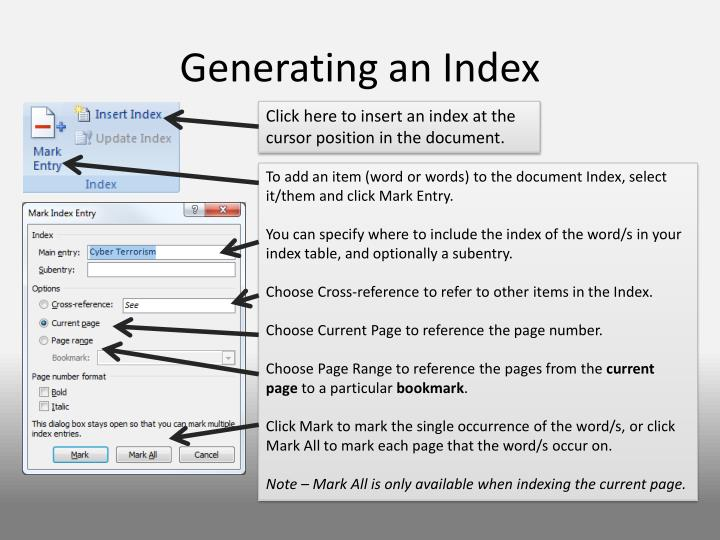 Generating an Index