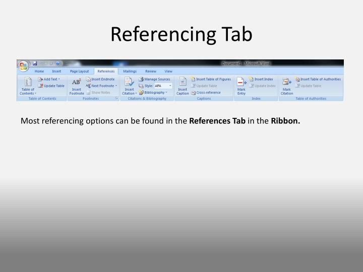 Referencing Tab