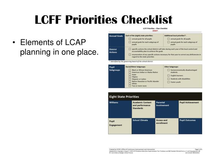 LCFF Priorities Checklist