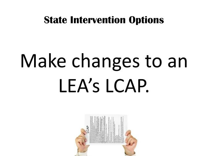 State Intervention Options