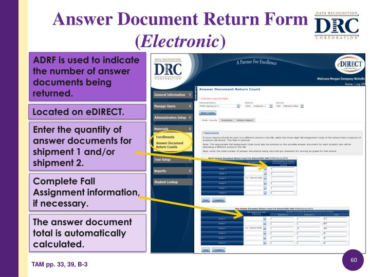 ADRF is used to indicate the number of answer documents being returned.