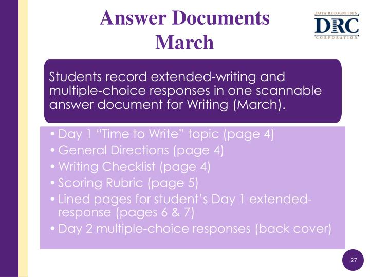 Students record extended-writing and multiple-choice responses in one
