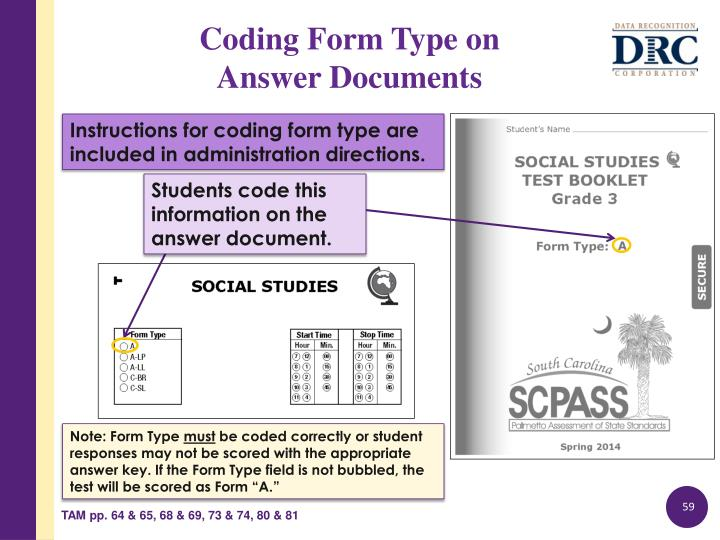 Instructions for coding form type are included in administration directions.