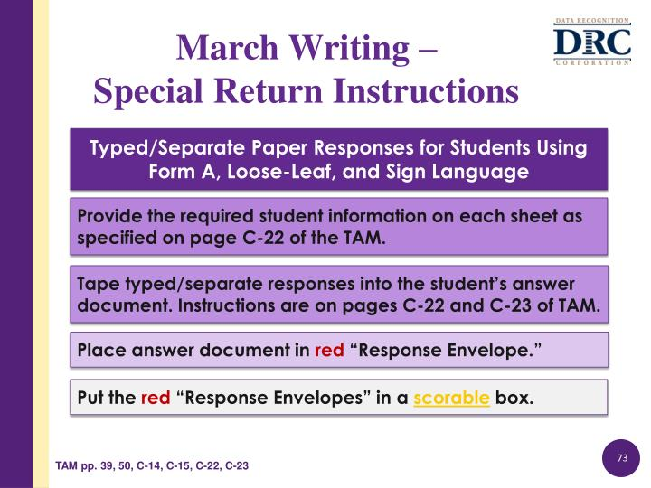 Typed/Separate Paper Responses for Students Using Form A, Loose-Leaf, and Sign Language