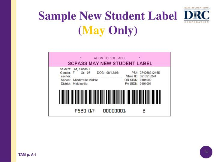 Sample New Student Label