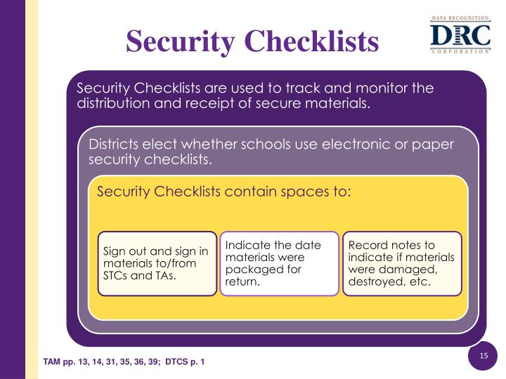 Security Checklists are used to track and monitor the distribution and receipt of secure materials.