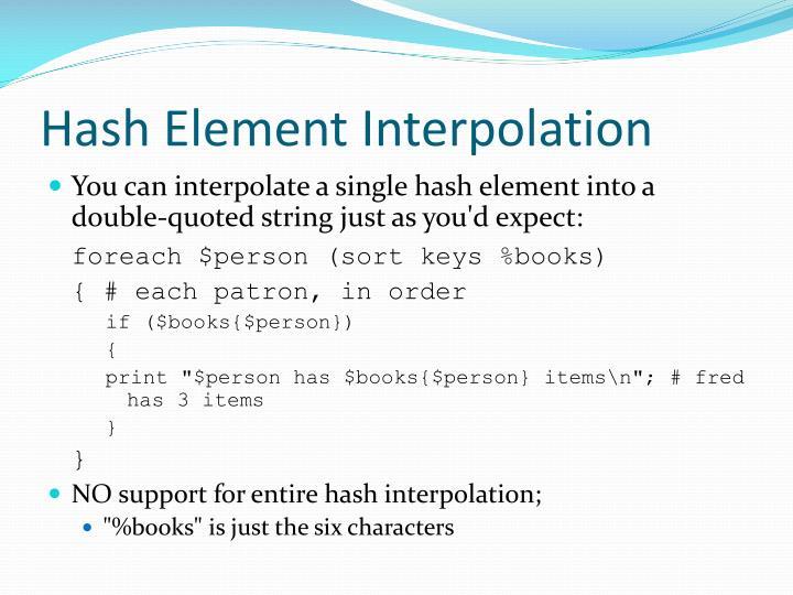 Hash Element Interpolation