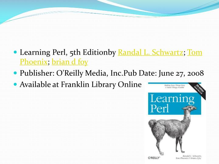 Learning Perl, 5th