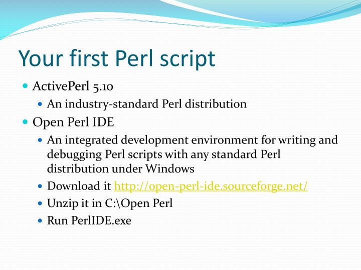 Your first Perl script