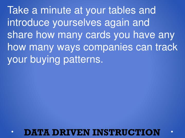 Take a minute at your tables and introduce yourselves again and share how many cards you have any how many ways companies can track your buying patterns.