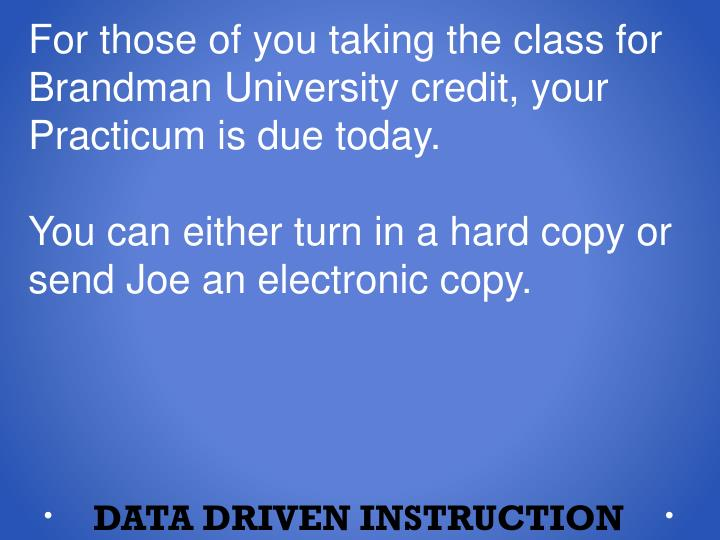 For those of you taking the class for