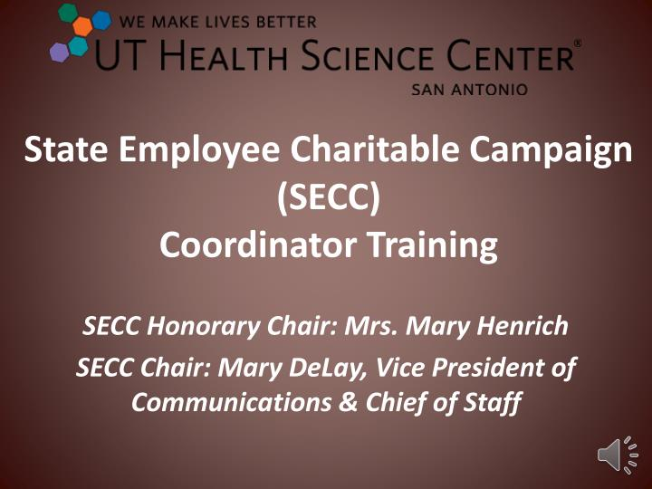 PPT - State Employee Charitable Campaign (SECC) Coordinator