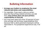bulleting information