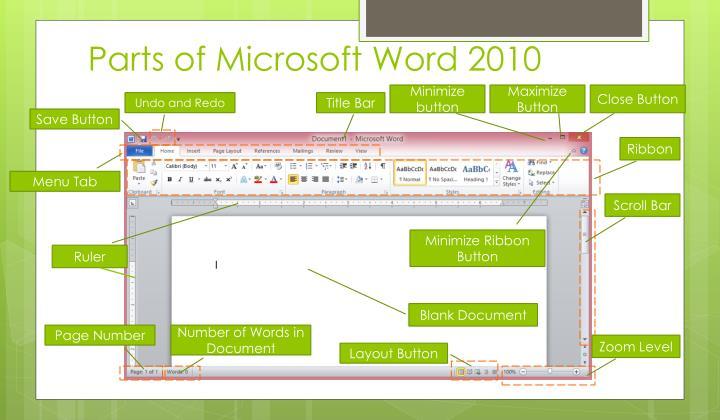 2010 microsoft word parts