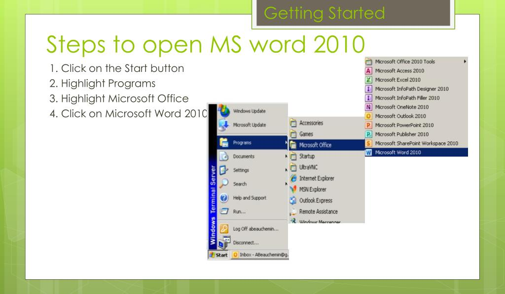 PPT - MS Word 2010 Tutorial PowerPoint Presentation - ID:1625272