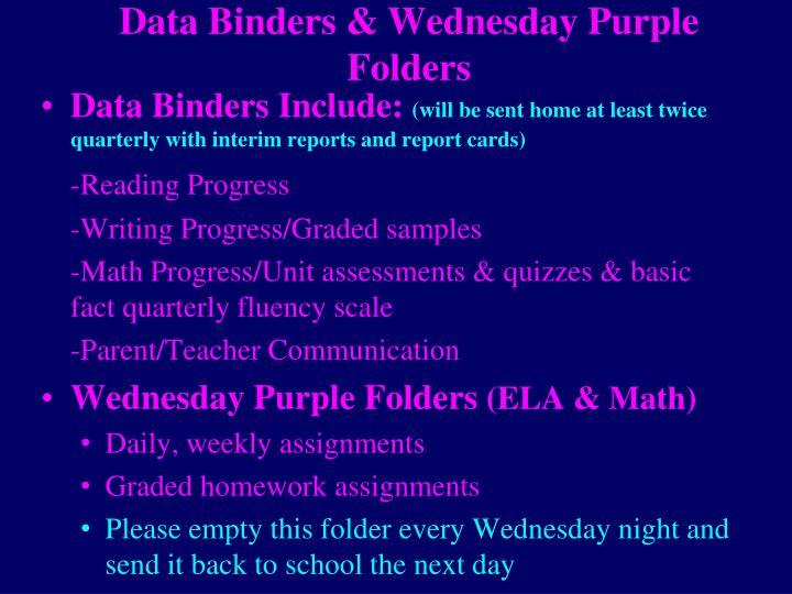 Data Binders & Wednesday Purple Folders