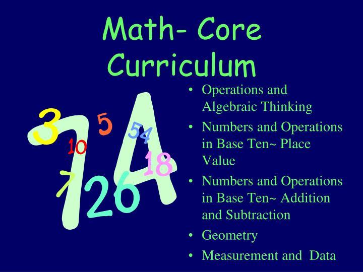 Math- Core Curriculum