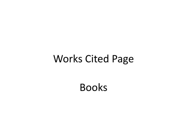 workcited page