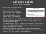 bar code labels leap i leap and laa 2