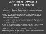 leap phase 1 phase 2 merge procedures