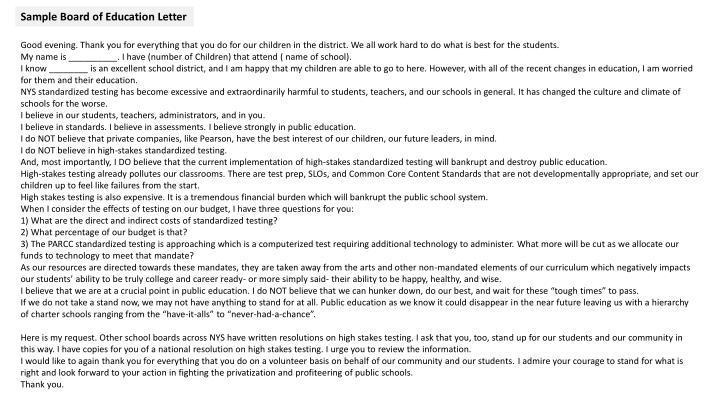 Sample Board of Education Letter