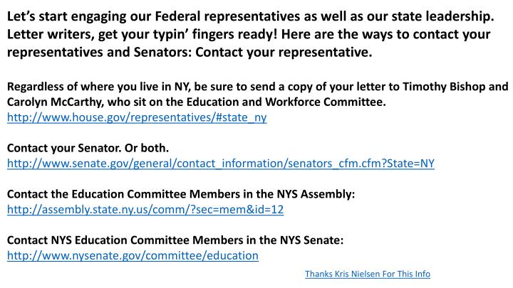 Let's start engaging our Federal representatives as well as our state leadership. Letter writers, get your