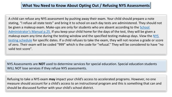 What You Need to Know About Opting Out / Refusing NYS Assessments