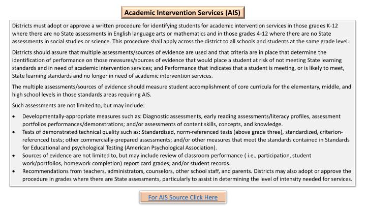 Academic Intervention Services (AIS)