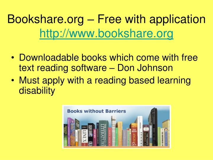 Bookshare.org – Free with application
