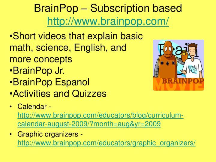 BrainPop – Subscription based