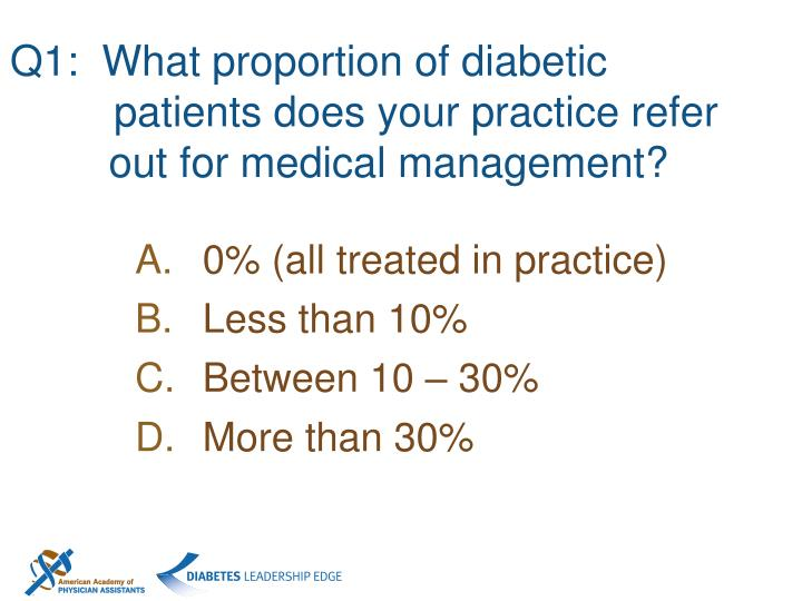 Q1:  What proportion of diabetic