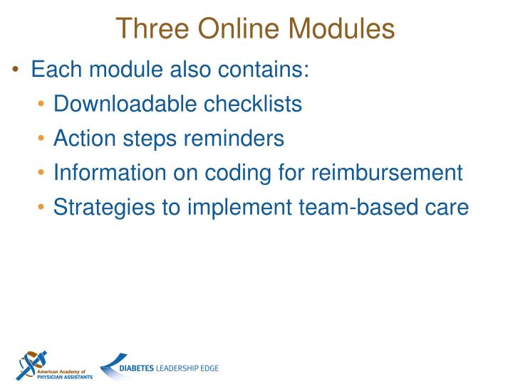 Three Online Modules