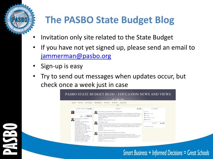 The PASBO State Budget Blog