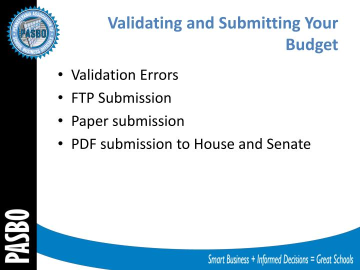 Validating and Submitting Your Budget