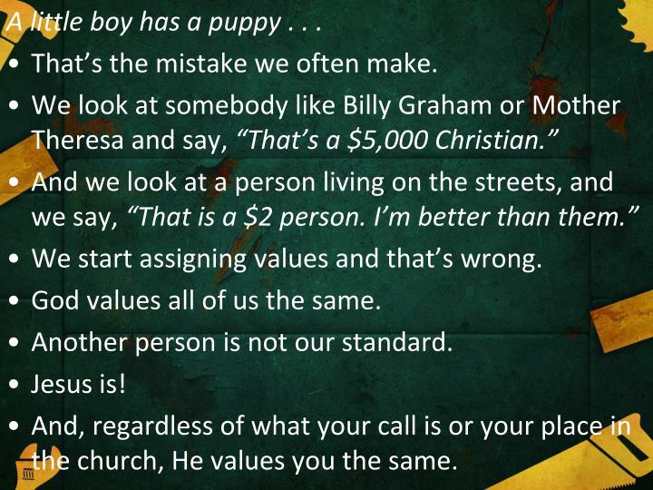A little boy has a puppy . . .