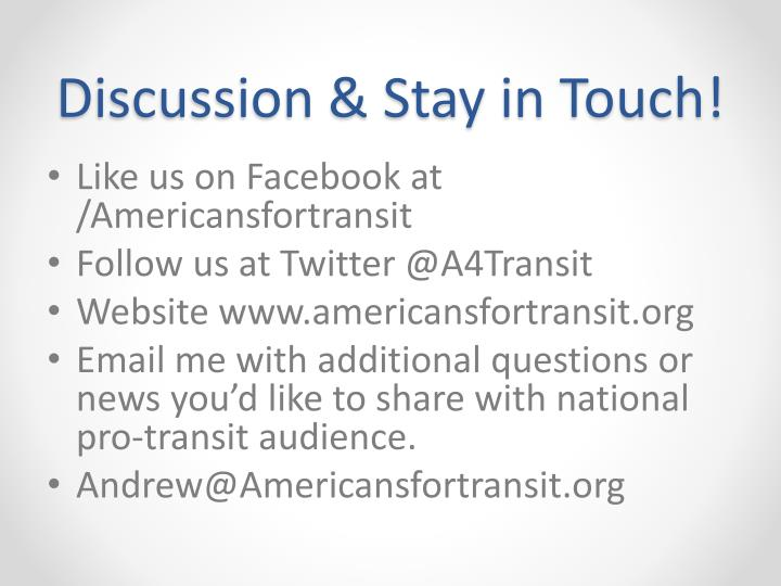 Discussion & Stay in Touch!
