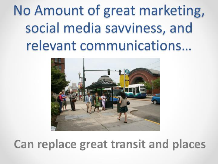 No Amount of great marketing, social media savviness, and relevant communications…