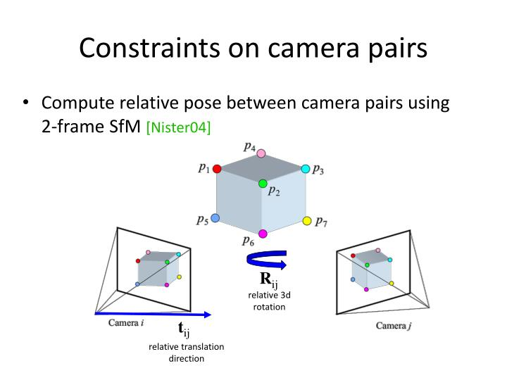 Constraints on camera pairs