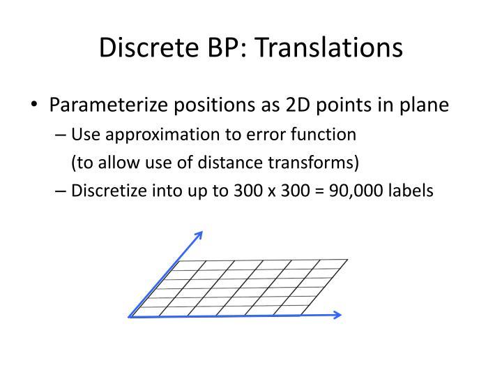 Discrete BP: Translations