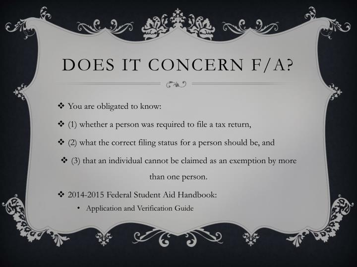 Does it concern f a