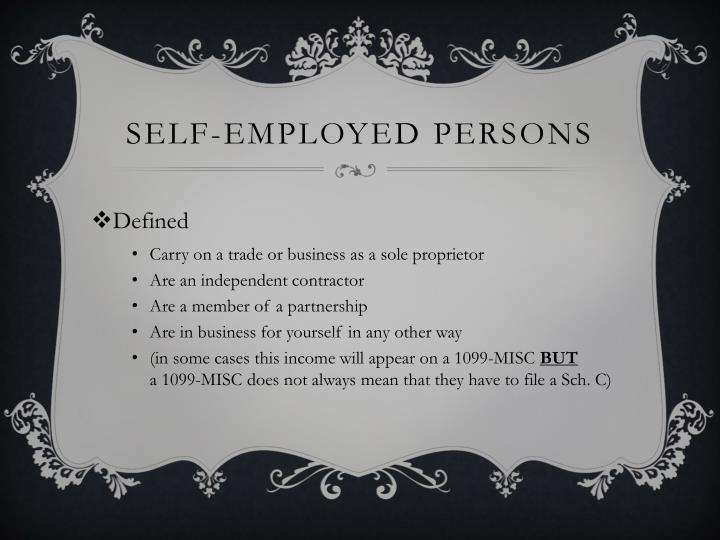 Self-Employed Persons