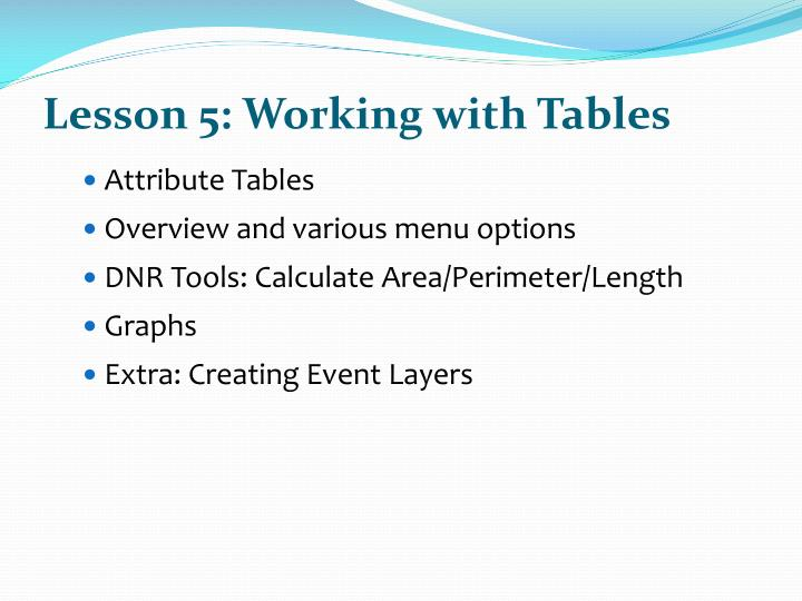 Lesson 5: Working with Tables