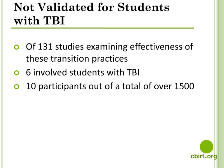 Not Validated for Students with TBI